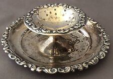 Antique Sterling Silver REPOUSSE Tea Strainer Plate - RARE
