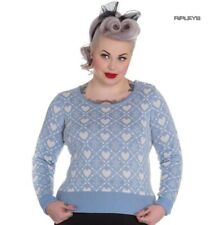 Hell Bunny Winter Christmas Jumper AURORA Snowflake Sky Blue All Sizes