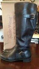 "Black Leather Knee High Nine West Boots 1"" Heel Size 7.5"