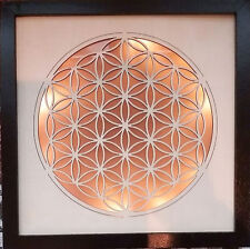 """9.5""""  SACRED GEOMETRY FLOWER OF LIFE 3D LED WOOD CARVING WALL HANGING PICTURE"""
