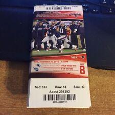 2015 NEW ENGLAND PATRIOTS VS TENNESSEE TITANS NFL TICKET STUB 12/20 EDELMAN