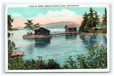 View at Cedar Island Fourth Lake NY Adirondacks Postcard Lean-to Cabin Dock C2