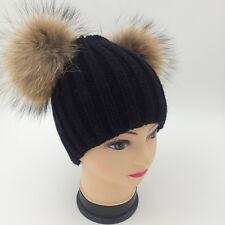 New Women Winter Real Raccoon Fur Double Pom Pom Knitted Knit Hat Beanie Cap