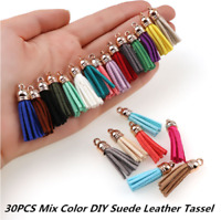 30Pcs Suede Leather Tassel For Keychain Jewelry DIY Pendant Charms Findings Sets