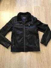 Zara Men's Black Leather Jacket ( damaged leather ) Size Medium