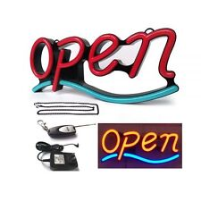 """""""Open"""" Animated 21""""x 9"""" Led Open Sign Light with Hanging Chain-Red & Blue"""