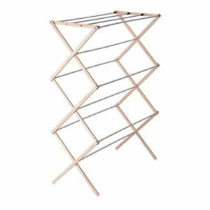 Household Essentials 5001 Collapsible Folding Wooden Clothes Drying Rack For ...