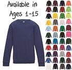 Boys Girls Unisex Jumper Sweatshirt Crew Round Neck School Uniform Ages 1-15