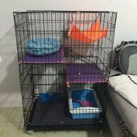 "46""H Large Folding Collapsible Pet Cat Wire Cage Indoor Outdoor Playpen Vacation"