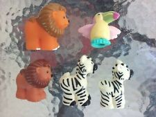 Fisher Price Little People Toy Wild Animals Lion Zebra Toucan Accessory Set Of 5