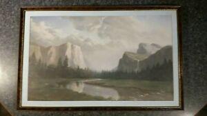 Yosemite Valley Artwork Lithograph D. Massaroni Framed Print Sierra Sunrise VTG