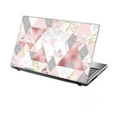 "TaylorHe Laptop Skin 15.6"" Vinyl Sticker Decal Pink Glitters Marble Metal"