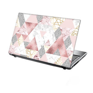 "TaylorHe Laptop Skin 15.6"" Vinyl Sticker Decal Pink Glitters Marble Metal"