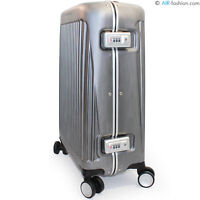 "PIQUADRO hardside silver spinner carry on suitcase 21"" 4 wheels TSA lock"