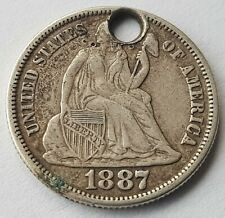 More details for usa 1887 s mint dime silver dollar coin seated liberty