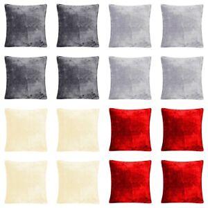 "4 x Extra Soft Faux Fur Mink Fleece Cushion Covers 43cm x 43cm / 17x17"""