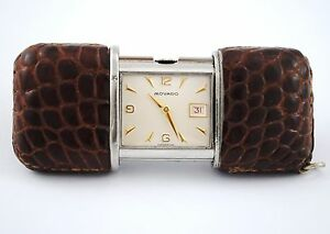 ANTIQUE MOVADO ERMETO LEATHER CASE TRAVEL WATCH