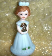 Mib Growing Up Birthday Girls Age 2 Year Figure-Bisque Porcelain-Enesco Brunette