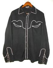 The Manuel Collection Western Shirt Vtg Rayon Gaucho Pearl Snap Black Usa Men Lg