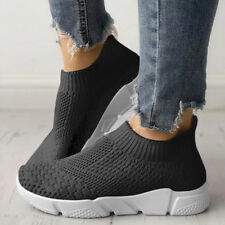 Ladies Women's Slip On Trainers Gym Sports Comfy Sock Sneakers Mesh Shoes Size