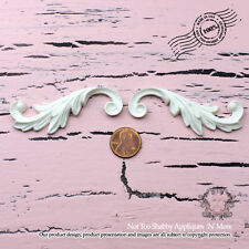 """Shabby Chic Furniture Appliques """"Not Too Shabby Feather Scrolls(Left, Right)"""""""