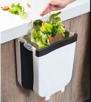 Wall Mounted Folding Waste Bin Kitchen Cabinet Door Hanging Trash Can Bin 2.3Gal