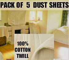 5 X Cotton Twill Dust Sheets Large Size HEAVY DUTY 100%  COTTON TWILL DUST SHEET