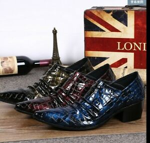 British Mens Cuban Heels Formal Dress Patent Leather Shoes Pumps Pleated Cracks
