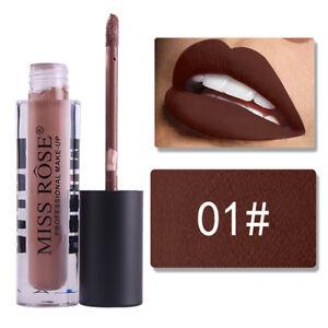 MISS ROSE Makeup Lip Gloss Long Lasting Matte Lipstick Waterproof 12Color Liquid