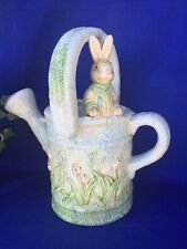 Vintage Peter Rabbit Benjamin Bunny Beatrix Potter Watering Can Vase Pottery