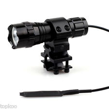 Mini Tactical CREE T6 LED Flashlight with Remote Switch for Rifle + Barrel Mount