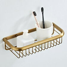 Antique Brass Wall Mounted Kitchen Bathroom Shower Shelf Storage Basket QD1737