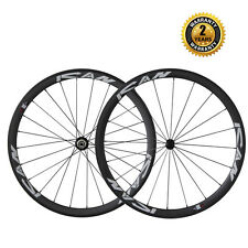 38mm Deep Carbon Fiber Clincher Road Bike Wheels Sapim Spokes Only 1350g