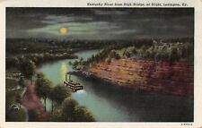 Postcard KY Lexington Kentucky River From High Bridge at Night Boat Full Moon PC