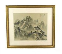 Antique Chinese Traditional Landscape Painting on Silk by Wang Yue Signed