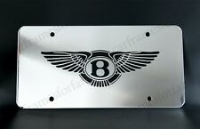 """BENTLEY"" License Plate, Custom Made of Chrome Plated Metal - Black Logo"