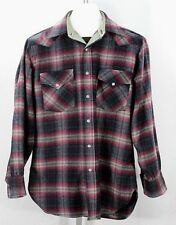 Pendleton Wool High Grade Western Wear Purple/Black Plaid LS M Pearl Snaps USA