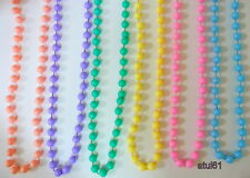 PASTEL COLOURS LONG ROPE PLASTIC BEADS NECKLACE FANCY DRESS DISCO PARTY NEW