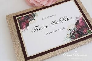 Personalised & Boxed Champagne Glitter & Botanical Wedding Guest Book