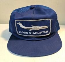 Vtg C-141B Starlifter Air Force Sewn Patch Jet K-Products Mesh Trucker Hat