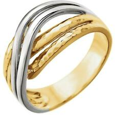 14k Yellow and White Gold Overlap Hammered Ring Size 7