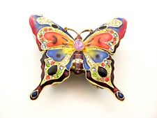 BEAUTIFULLY HAND PAINTED BUTTERFLY TRINKET BOX WITH COLORFUL SWAROVSKI CRYSTAL