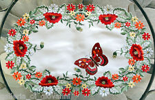 Doily Wildflowers Placemat Runner Red Flower Floral Poppies Poppy