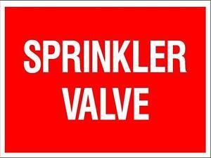(2 X SIGNS) SPRINKLER VALVE - 300 X 225MM - METAL SIGN - SAFETY FIRE SIGN
