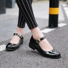 sweet  Womens Square toe Ankle Strap Flat Heel patent leather Mary Jane Shoes
