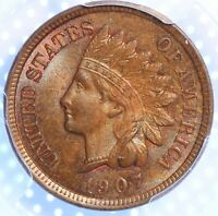 1907 INDIAN CENT, PCGS MS64BN, FLASHY BROWNS AND TWINGES OF RED, BOLDLY STRUCK!