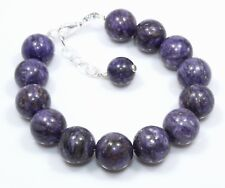 "Natural Rare Sugilite Bracelet 925 Sterling Silver 12 MM  7.5""+1 Birthday Gift 9"