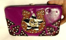 BHW LEATHER Embossed WESTERN Clutch Wallet STUDED Hard case Horseshoe Star Fleur