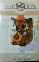 Accent Warmer BROWN OWL Fragrance Candle Warmer Ceramic Oak & Rye
