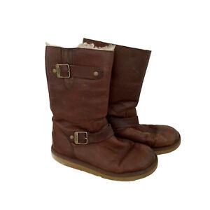 Ugg Australia Kensington Boots Sz 8 - Brown Double Buckle Tall Leather Shoe